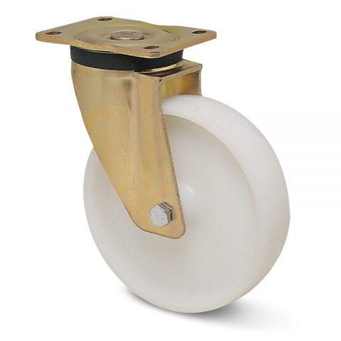 Περιστρεφόμενη ρόδα βαρέως τύπου 200mm από νάυλον με σφαιρικά ρουλεμάν.Προσαρμογή με πλάκα.