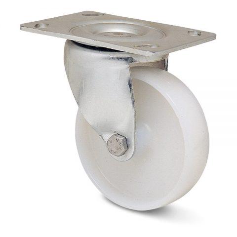Περιστρεφόμενη ρόδα για καρότσι 75mm από νάυλον, χωρίς ρουλεμάν.Προσαρμογή με πλάκα.