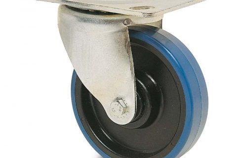 Περιστρεφόμενη ρόδα για καρότσι 150mm από πλαστική πολυουρεθάνη με σφαιρικά ρουλεμάν.Προσαρμογή με πλάκα.