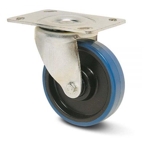 Περιστρεφόμενη ρόδα για καρότσι 125mm από πλαστική πολυουρεθάνη με σφαιρικά ρουλεμάν.Προσαρμογή με πλάκα.