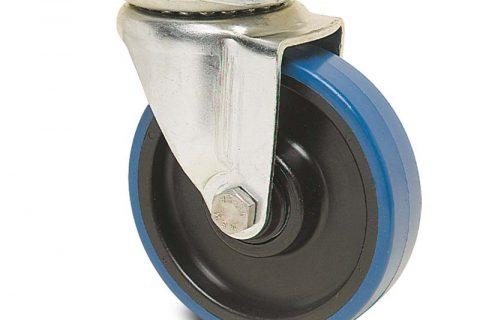 Περιστρεφόμενη ρόδα για καρότσι 100mm από πλαστική πολυουρεθάνη με σφαιρικά ρουλεμάν.Προσαρμογή με πλάκα.