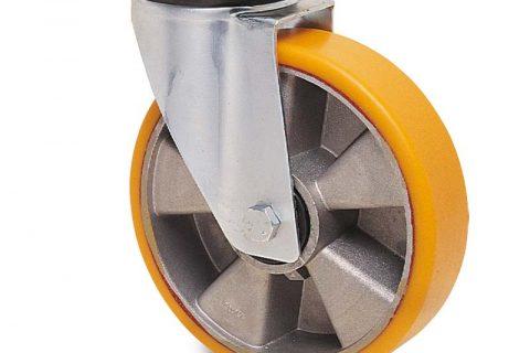 Περιστρεφόμενη ρόδα για καρότσι 150mm από πολυουρεθάνη με ζάντα αλουμινένια με σφαιρικά ρουλεμάν.Προσαρμογή με πλάκα.