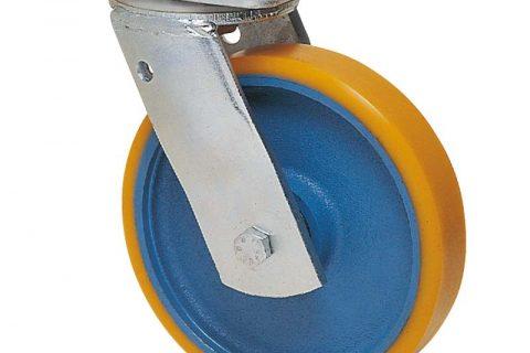 Περιστρεφόμενη ρόδα βαρέως τύπου 200mm από πολυουρεθάνη με ζάντα χυτοσίδηρη με σφαιρικά ρουλεμάν.Προσαρμογή με πλάκα.