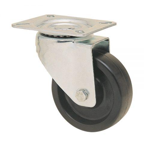 Περιστρεφόμενη ρόδα για καρότσι 125mm από τροχό υψηλών θερμοκρασιών χωρίς ρουλεμάν.Προσαρμογή με πλάκα.