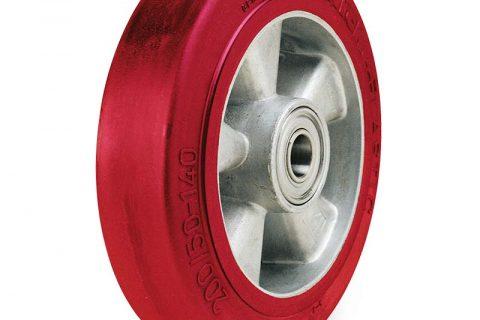 Τροχός 230mm από ελαστική πολυουρεθάνη με ζάντα από αλουμίνιο με σφαιρικά ρουλεμάν.