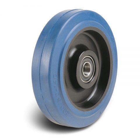 Τροχός 125mm από μπλε λάστιχο,πλαστική ζάντα με μακαρωνοτό ρουλεμάν.