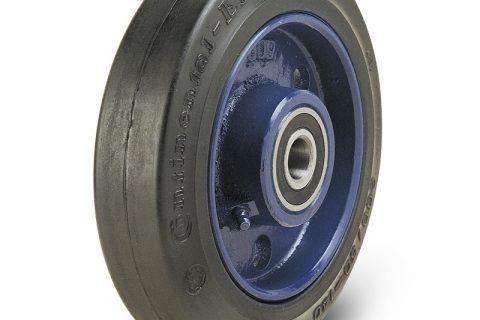 Τροχός 230mm από μαύρο λάστιχο,χυτοσίδηρη ζάντα με σφαιρικά ρουλεμάν.