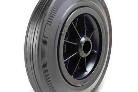 Τροχός 125mm από μαύρο λάστιχο,πλαστική ζάντα με μακαρωνοτό ρουλεμάν.