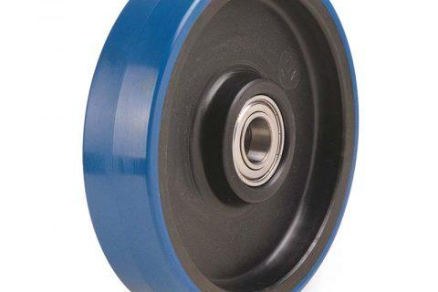 Τροχός 200mm από πλαστική πολυουρεθάνη με μακαρωνοτό ρουλεμάν.