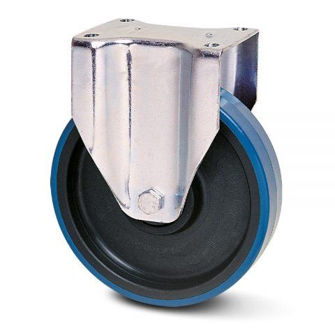 Ανοξείδωτη σταθερή ρόδα για καρότσι 150mm από πλαστική πολυουρεθάνη με μακαρωνοτό ρουλεμάν.Προσαρμογή με πλάκα.