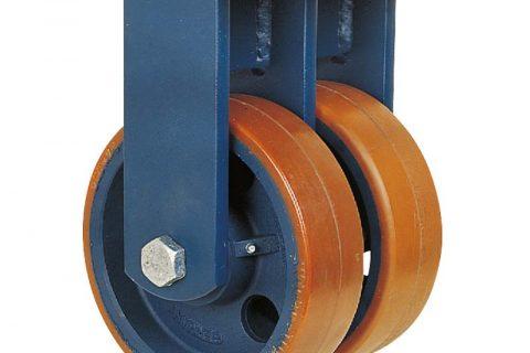 Σταθερή ρόδα βαρέως τύπου 150mm από πολυουρεθάνη με ζάντα χυτοσίδηρη με σφαιρικά ρουλεμάν.Προσαρμογή με πλάκα.