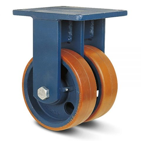 Σταθερή ρόδα βαρέως τύπου 300mm από πολυουρεθάνη με ζάντα χυτοσίδηρη με σφαιρικά ρουλεμάν.Προσαρμογή με πλάκα.