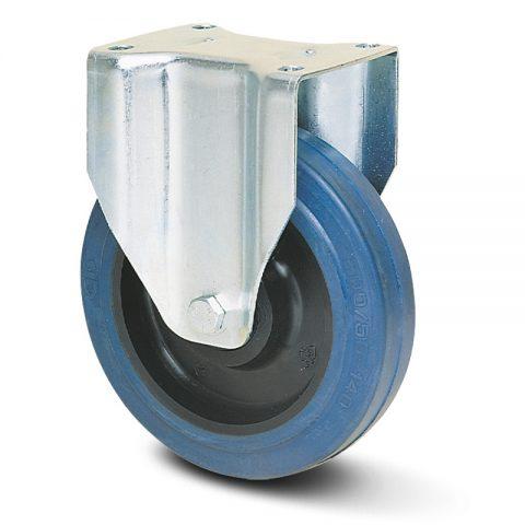 Σταθερή ρόδα για καρότσι 125mm με μπλε λάστιχο,ζάντα πλαστικιά με μακαρωνοτό ρουλεμάν.Προσαρμογή με πλάκα.