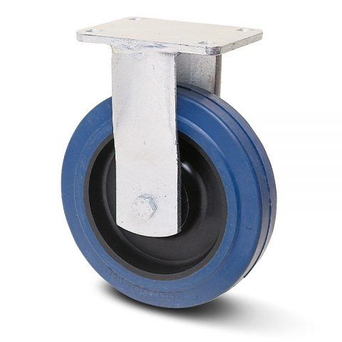 Βαρέως τύπου ρόδα σταθερή  160mm με μπλε λάστιχο,ζάντα πλαστικιά με μακαρωνοτό ρουλεμάν.Προσαρμογή με πλάκα.