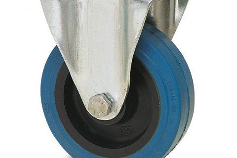 Ρόδα σταθερή  σειράς Ε  125mm με μπλε λάστιχο,ζάντα πλαστικιά με μακαρωνοτό ρουλεμάν.Προσαρμογή με πλάκα.