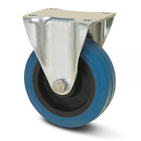 Ρόδα σταθερή  σειράς Ε  100mm με μπλε λάστιχο,ζάντα πλαστικιά με μακαρωνοτό ρουλεμάν.Προσαρμογή με πλάκα.