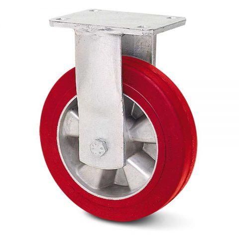 Σταθερή ρόδα βαρέως τύπου 200mm από πολυουρεθάνη με ζάντα αλουμινένια με σφαιρικά ρουλεμάν.Προσαρμογή με πλάκα.