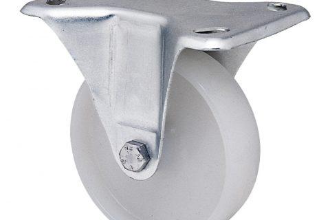 Σταθερή ρόδα για καρότσι 125mm από νάυλον, χωρίς ρουλεμάν.Προσαρμογή με πλάκα.
