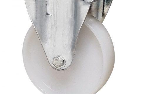 Σταθερή ρόδα για καρότσι 125mm από νάυλον με μακαρωνοτό ρουλεμάν.Προσαρμογή με πλάκα.