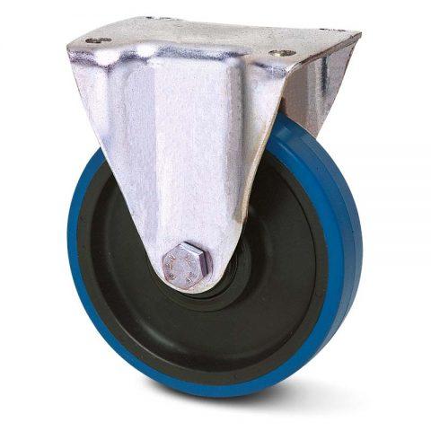 Σταθερή ρόδα για καρότσι 100mm από πλαστική πολυουρεθάνη με μακαρωνοτό ρουλεμάν.Προσαρμογή με πλάκα.