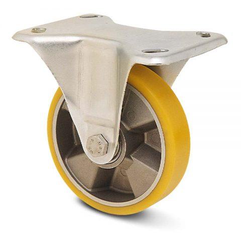 Σταθερή ρόδα για καρότσι 100mm από πολυουρεθάνη με ζάντα αλουμινένια με σφαιρικά ρουλεμάν.Προσαρμογή με πλάκα.