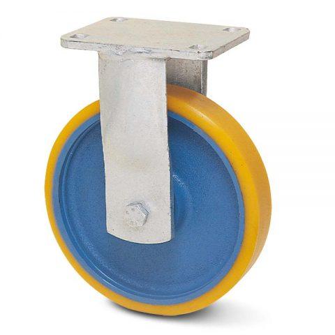 Σταθερή ρόδα βαρέως τύπου 250mm από πολυουρεθάνη με ζάντα χυτοσίδηρη με σφαιρικά ρουλεμάν.Προσαρμογή με πλάκα.