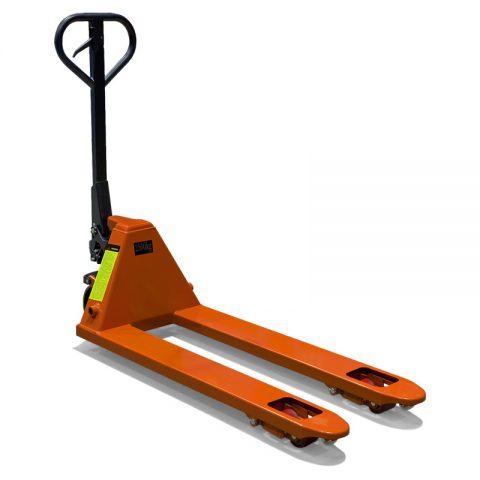 Χειροκίνητο παλετοφόρο χαμηλού προφιλ για χρήση σε παλέτες με μικρό ύψος για έυκολη μεταφορά